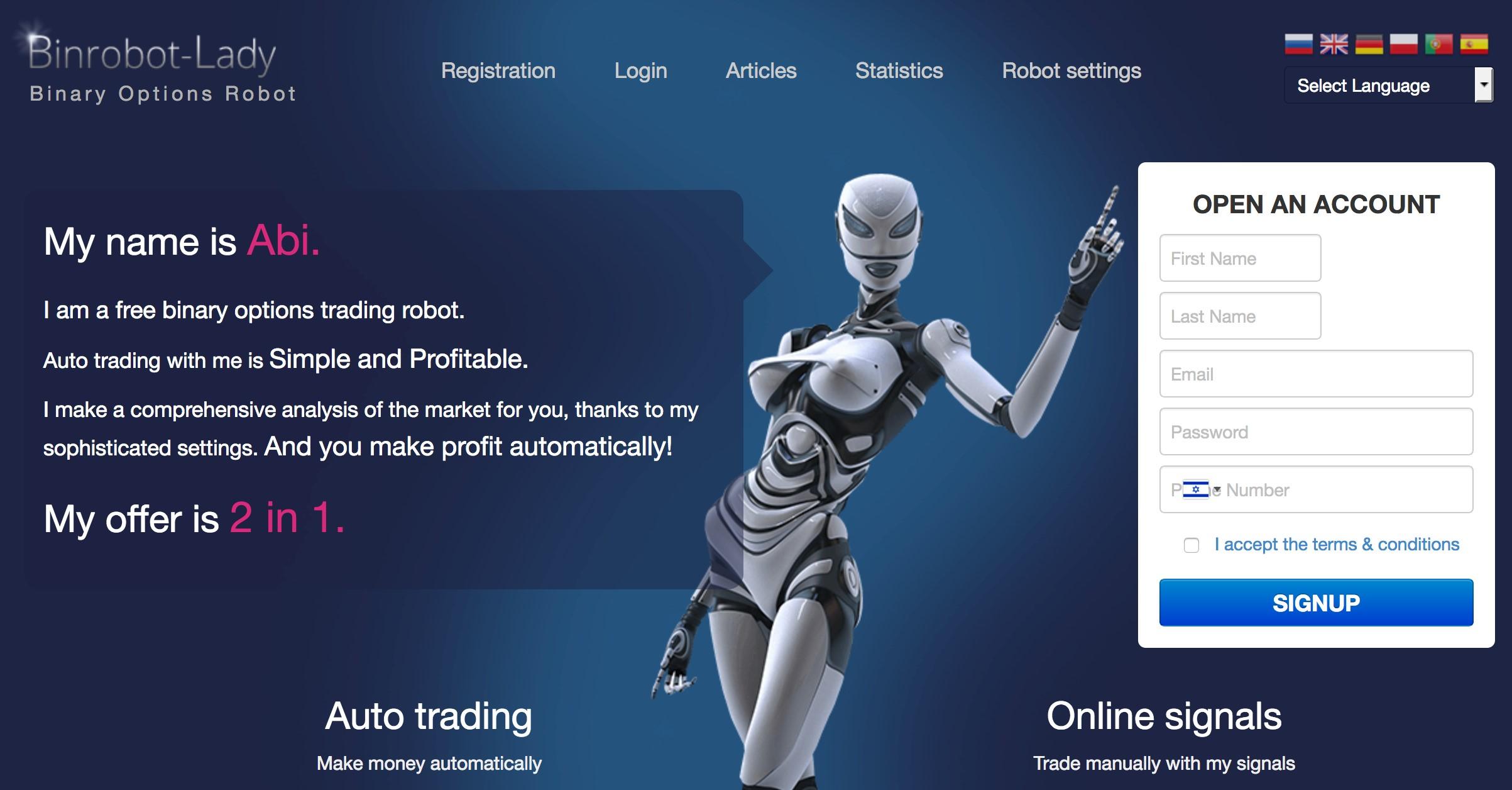 İkili robot. Seçenekler nasıl para kazanılır