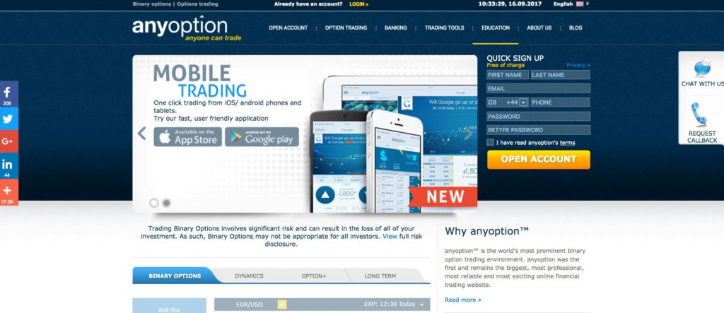 Trade 200+ Assets with AnyOption, The Original Binary